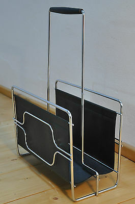 Skai Chrome Magazine Rack with Wooden Handle Panton Era
