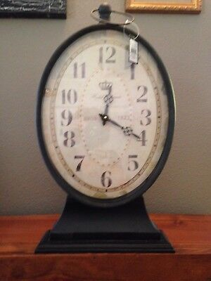 Home Decor Rustic Metal French Country Paris Clock Table Top Mantel Shelf Accent