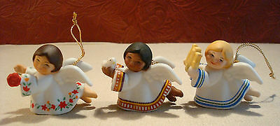 3 Vintage Avon 1983 Bisque Peace on Earth Angel Ornaments