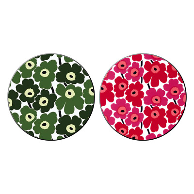 2x Marimekko Unikko Pocket Hand Mirrors Flower Patterns Kitsch Gift New