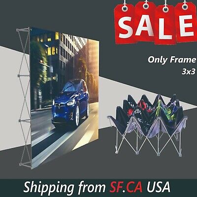 8 x 8ft, Tension Fabric Backdrop Booth Frame Straight Pop Up Display Stand-3x3