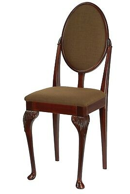 Antique Redwood effect Queen Anne Chair with Espresso fabric Cushions