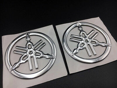 Chrome Tuning Fork Emblem Decals for Yamaha Gas Tank Fairing Motorcycle Stickers