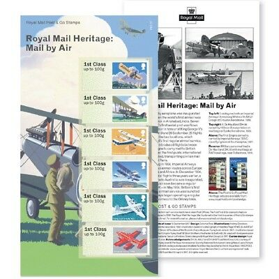 UK Post & Go Royal Mail Heritage Mail by Air Stamp Set MNH 2017