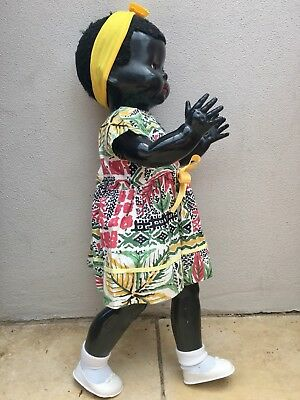 black vintage pedigree walking doll mama voice box Made In England 54cm Tall