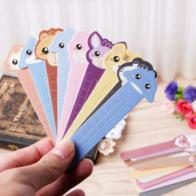 30Pcs Kawaii Animal Bookmarks Paper Metal Ruler Office Supplies Kids Stationery
