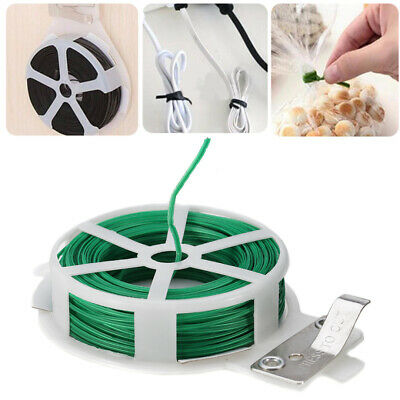Portable 30M Roll Wire Twist Ties Green Garden Cable & Gardening Climbers Slicer