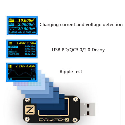 KM001 POWER-Z USB PD QC3.0 QC2.0 Tester Voltage Current Ripple Dual Type-C Meter
