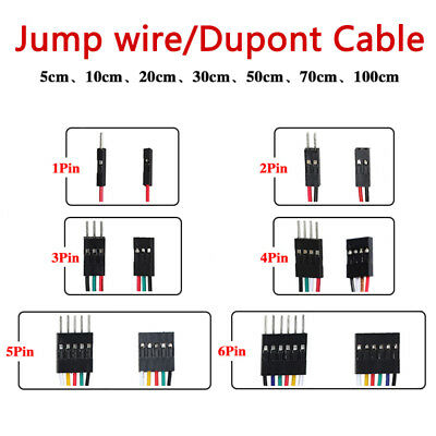 Female to Male Jump Wire 1 2 3 4 5 6 Pin Dupont Cable Connectors NEW