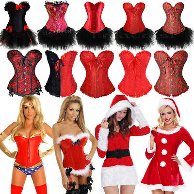 cb30021a076b Sexy Miss Santa Corset Bustier Xmas Outfit Womens Christmas Fancy Dress  Costume