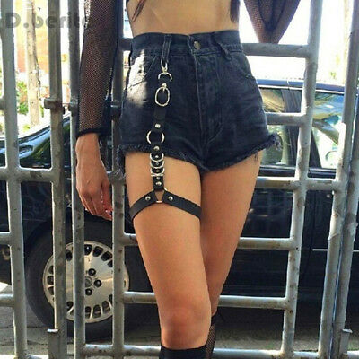 Women Single Strap Clip Leather Suspender Hook Adjustable Leg Ring Sock Garter