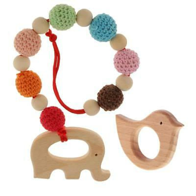 2Pcs Wooden Safe Baby Teething Bird Ring Teether Elephant Bracelet DIY Toy