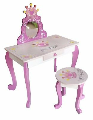 Kiddi Style Wood Princess Dressing Table Stool Girls Kids Dress Make Up Vanity
