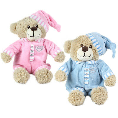 """14"""" My First Teddy Bear in Pink or Baby Blue. Babies Newborn Plush Gift"""