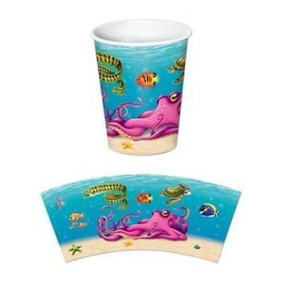 Under The Sea 9 oz Hot/Cold Paper Cups 8 Pack Marine Birthday Party Decoration