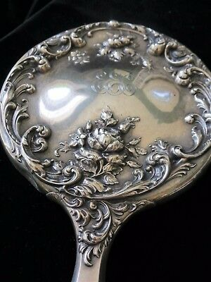 Antique Sterling Silver Vanity Set with Art Noveau Brush & Mirror