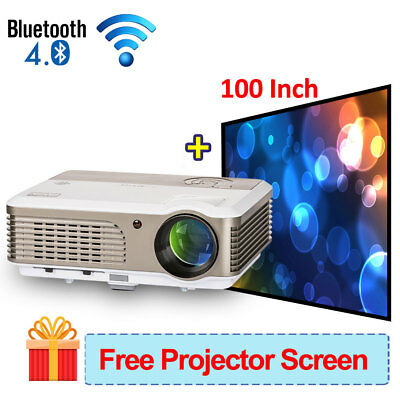 Wifi Android Bluetooth 4000lms Projektor Beamer 1080p Home Theater HDMI VGA USB