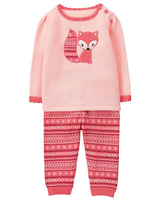 NWT Gymboree Forest Fox Fair Isle Sweater Pants Outfit Set 2PC Baby Girl