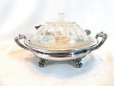Vintage PAIRPOINT Quadruple Plate Silverplate Butter Caviar Dish W/ Knife #382