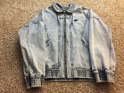 finest selection 04a5d 76a97 VTG Nike Challenge Court Blue Acid Wash Denim Jacket Andre Agassi Sz XL Jean