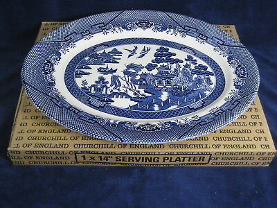 "Churchill Blue Willow Made Staffordshire England ~ 14"" Serving Platter   ~New"