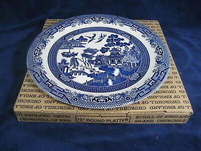 Churchill Blue Willow Made Staffordshire England ~ Round Serving Platter ~ New