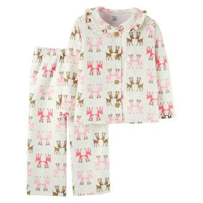 Carters Baby Girls 2-Piece Long Sleeve Fleece Pajama Set Christmas Reindeer 859183476