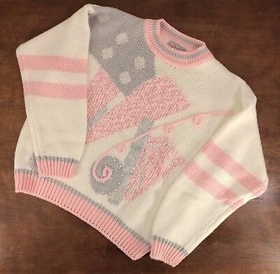 """Vtg 80s GLAMOUR KNIT PINK OFF WHITE METALLIC ACRYLIC  WOMENS SWEATER L 20"""" Chest"""