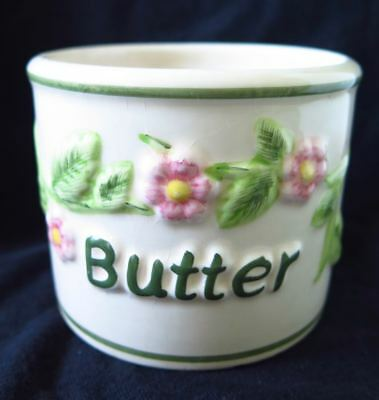 French Porcelain Butter  Beurre Bowl With Flowers Shabby Cottage Style  Vintage