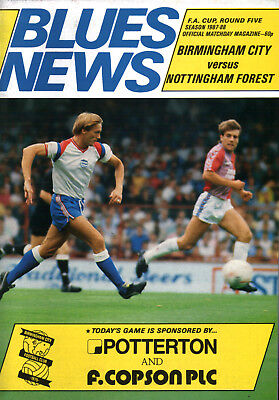 1987/88 Birmingham City v Nottingham Forest, FA Cup, PERFECT CONDITION