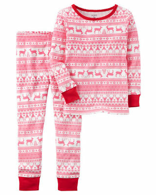 NEW Carter's 2 Piece Pink Fair Isle Holiday Pajamas NWT 3T 4T 5T 6 7 8 Girl PJs
