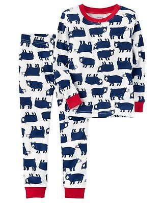 NEW Carter's 2 Piece Bear Holiday Pajamas NWT 3T 4T 5T 6 7 8 Boy PJs