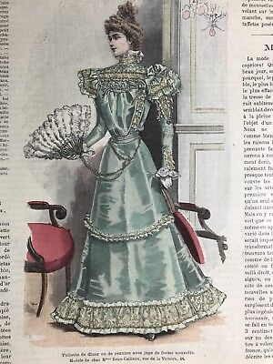 French MODE ILLUSTREE SEWING PATTERN Nov 14,1897 BALL GOWNS, DOLLS,EVENING DRESS