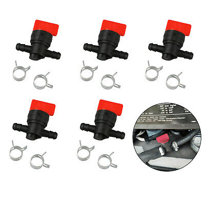 """5x 1/4"""" Inline Gas Fuel Shut Cut off Valves 10 Clamps for Briggs&Stratton Mower"""