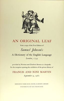 Johnson, Samuel / An original leaf from copy of the first edition of 1981 1st ed