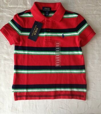 Ralph Lauren Baby Boy's Striped 100% Cotton  Polo Shirt (24Months)