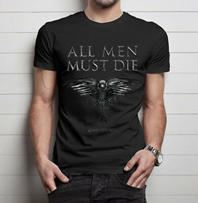 Official Game of Thrones All Men Must Die Unisex Tshirt Fantasy Three Eyed Raven