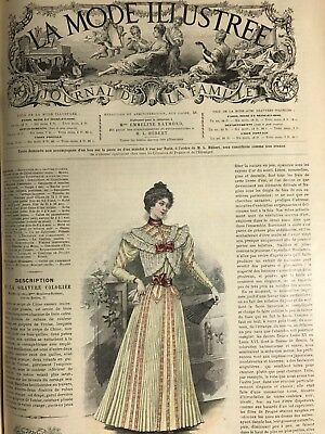 French MODE ILLUSTREE SEWING PATTERN Aug 15,1897 Four MOURNING DRESSES
