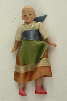 "Vintage Plastic Toy Celluloid Girl Doll 4.5"" Tall Strung Original Clothing"