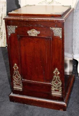 Victorian Mahogany & Oak Brass Bound Fall Front Shoe Cupboard