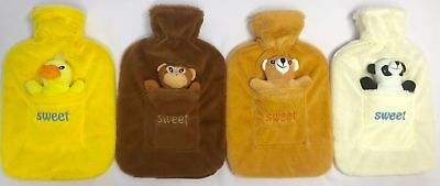 New 2 Liter Large Rubber Hot Water Bottle With Warm Fleece Fur Animal Toy Covers