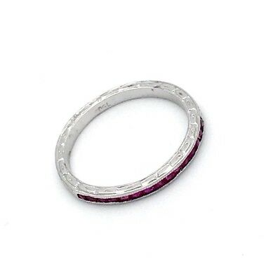 Estate 750 18k White Gold 0.85CT Natural Ruby Baguetts Shape Carved Band Ring 6