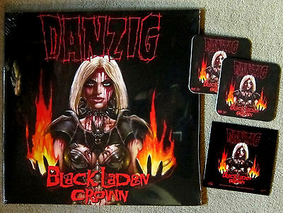 DANZIG Black Laden Crown - LP / Neon Orange Vinyl + Sticker + 2 Bierdeckel