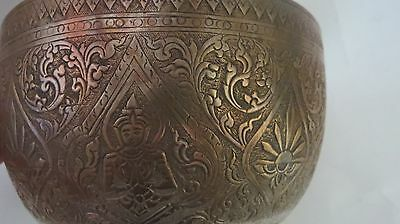 RARE VINTAGE 19TH Century  THAILAND  Traditional   Hand Carved  SILVER  BOWL.