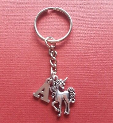Unicorn Keyring and Initial Letter A to Z Keychain Charms personalise