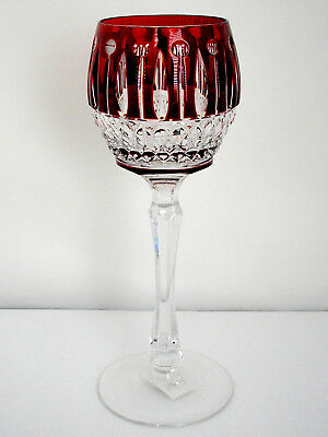 Faberge Xenia Imperial Ruby Red Cased Cut To Clear Crystal Wine Goblet Signed