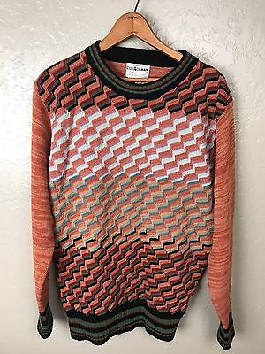 Vintage 70s Collageman Men's Sweater Multi Color Unique 100% Acrylic Size XL