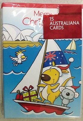 1 x 15 Pack Cute Australiana Overseas Christmas Cards Mixed Designs In Pack  BN