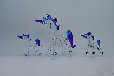 Set of 3 Unicorns Purple Blue Clear Figurine of Blown Glass Crystal