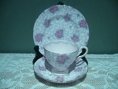 Tuscan China England Pink Chintz Trio - Hand Accented - Cup Saucer Plate - Vgc